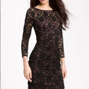 ELIZA J RUCHED LACE SHEATH DRESS BLACK/NUDE SZ 14